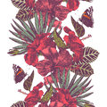 Vector seamless tropical border with hibiscus flowers, leaves and butterflies Royalty Free Stock Photo