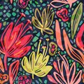 Vector seamless tropical pattern with bright minimalistic flowers on dark background, vivid colors floral summer print