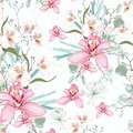 Vector seamless tropical pattern, with paradise orchid flower in bloom.