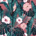 Vector seamless tropical pattern, vivid tropic foliage, with palm monstera, bananas leaves and hibiscus flowers. Royalty Free Stock Photo