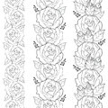 Vector seamless vertical border with outline rose flower and foliage in black isolated on white background. Floral pattern.