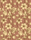 Vector seamless vintage floral pattern with beige anemones on a brown background Stock Images