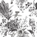 Vector seamless vintage floral pattern. Exotic flowers and birds. Royalty Free Stock Photo