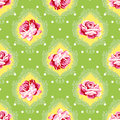 Vector seamless vintage floral pattern pink roses with green leaves on a damask background Royalty Free Stock Photo