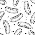 Vector seamless vintage hot dog pattern. Hand drawn monochrome f