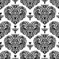 Vector seamless vintage pattern with hearts.