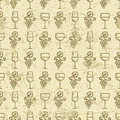 Vector seamless vintage pattern with outline vine grape and wine Royalty Free Stock Photo