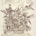 Vector seamless wallpaper pattern with flowers and birds Royalty Free Stock Photo