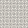Vector Seamless Wavy Round Lines Irregular Geometric Pattern Royalty Free Stock Photo