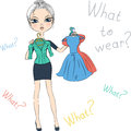 Vector seriousl fashion girl top model trying on dresses beautiful serious fancy dress Stock Photo