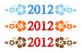Vector set of 2012 text with hibiscus Stock Photography