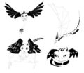 Vector set of 4 monsters silhouettes Stock Images