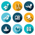 Vector Set of Abortion Icons. Equipment, Surgery, Birth, Monthly, Date, Medicine, Contraception, Diagnosis, Test.