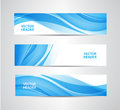 Vector set of abstract blue wavy headers, water flow banners. Royalty Free Stock Photo