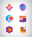 Vector set of abstract colorful icons logos isolated Royalty Free Stock Photography