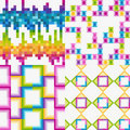 Vector set of abstract colorful tile backgrounds Stock Photography