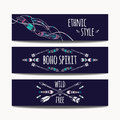 Vector set of abstract ethnic banners with arrows, feathers and geometric ornaments