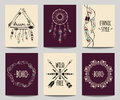 Vector set of abstract ethnic flyers with arrows, dreamcatcher