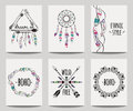 Vector set of abstract ethnic flyers with arrows, dreamcatcher, feather frames