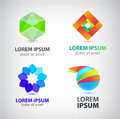 Vector set of abstract shapes, logos, icons isolated. Royalty Free Stock Photo