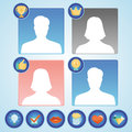 Vector set with achievement and awards badges for social community man woman avatars icons Stock Photos