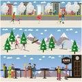 Vector set of active winter people posters in flat design