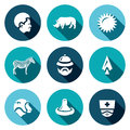 Vector Set of Africa Icons. African, Animal, Heat, Safari, Travel, Hunt, Virus, Medicine.