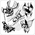 Vector set aggressive insects vinyl ready predatory Stock Photography