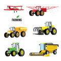 Vector set of agricultural vehicles and farm machines. Tractors, harvesters, combines. Illustration in flat design. Royalty Free Stock Photo