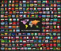 Vector set of all world countriessovereign states flags arranged in alphabetical order. Map of the world with countries names Royalty Free Stock Photo