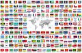Vector set of all world flags arranged in alphabetical order isolated on white background. World map with countries names and bord