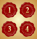Vector Set of Anniversary Red Wax Seal First, Second, Third, Fourth Royalty Free Stock Photo