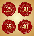 Vector Set of Anniversary Red Wax Seal 25th, 30th, 35th, 40th Royalty Free Stock Photo