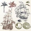Vector set of antique ships and palms in vintage style.