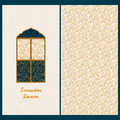 Vector set with arabic seamless vector pattern and a card with lantern and hand drawn words Ramadan Kareem