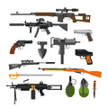 Vector set of army combat weapons. Icons isolated on white background. Gun, rifles, grenade Royalty Free Stock Photo