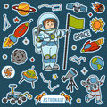 Vector set with astronaut and space objects. Cartoon items