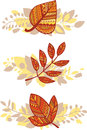 Vector set of autumn leaves compositions Royalty Free Stock Photos