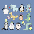 Vector set with baby animals . Cartoon illustrations