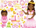 Vector Set for Baby Girl Shower with Pregnant African American Woman and Baby Girl Dressed as Princesses