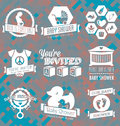 Vector set baby shower invitation labels and icon collection of retro style icons Royalty Free Stock Photography
