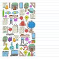 Vector set of Back to School icons in doodle style. Painted, colorful, pictures on a piece of linear paper on white background