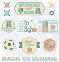 Vector set back to school labels and icons retro collection of for grade Royalty Free Stock Photo