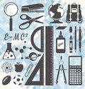 Vector set back to school labels and icons retro style symbols Royalty Free Stock Image