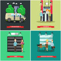 Vector set of bank concept posters in flat style