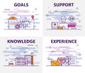 Vector set of banners with goals, support, knowledge, experience concept elements. Thin line flat design symbols and