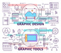 Vector set of banners with graphic design and graphic tools concept templates. Modern thin line flat design elements