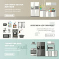 Vector set of banners with kitchen interior, accessories and furniture