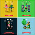 Vector set of banners with musicians playing guitar and piano