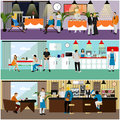 Vector set of banners with restaurant interiors. People having lunch in cafe. Royalty Free Stock Photo